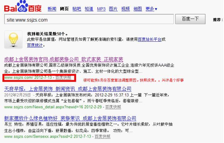 网站文章在搜索引擎中的表现