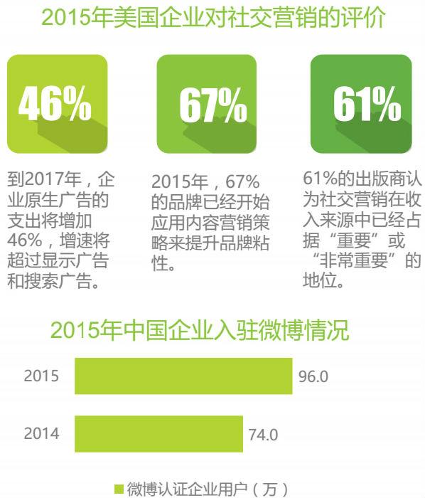 2015年美国企业对社交营销的评价